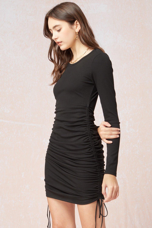 Long Sleeve Ruched Dress, Black/ H. Grey