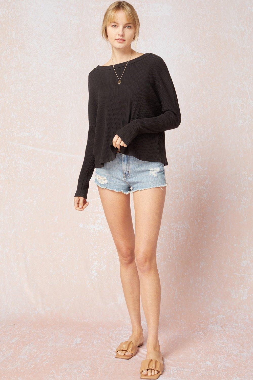 Long Sleeve T-Shirt, Black/Oatmeal