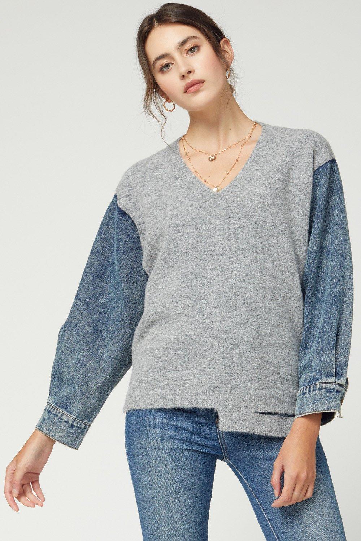 Denim V-Neck Sweater, Grey