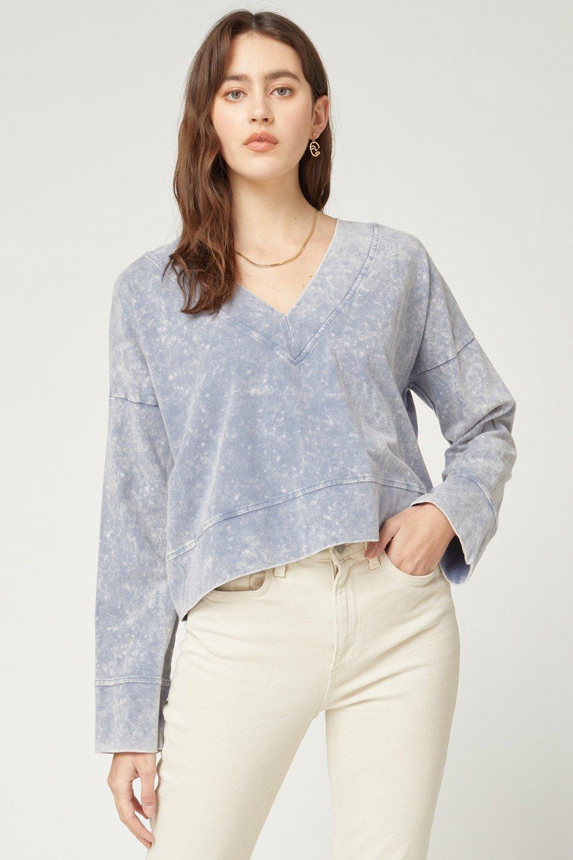V-Neck Sweatshirt, Indigo