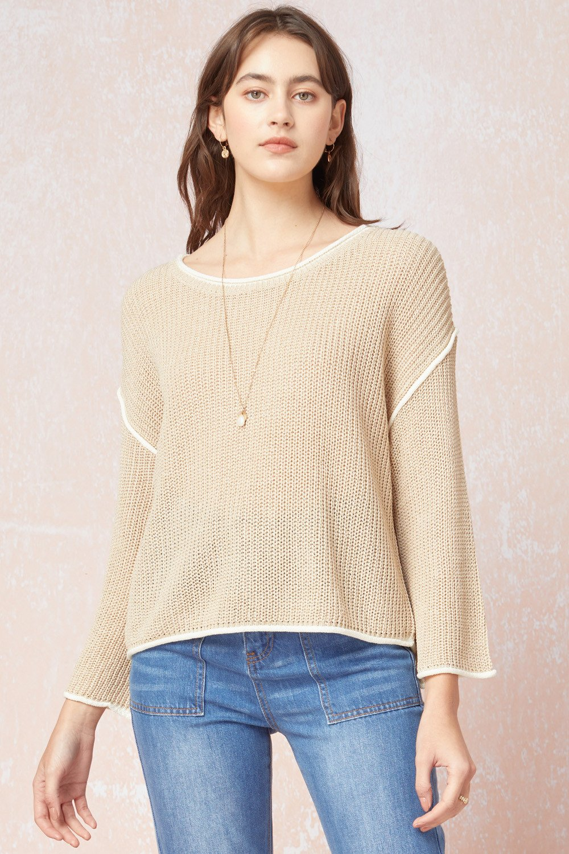 Sweater, Sand w/ Cream Trim