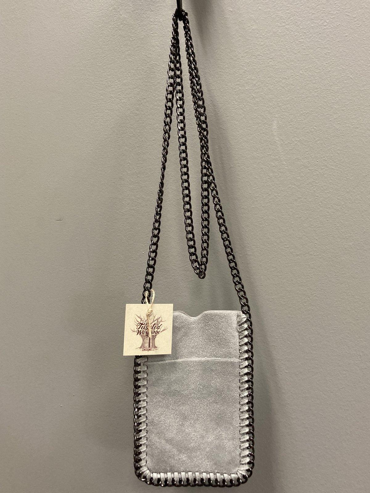 Crossbody Mini Bag, Grey, Pink Rose