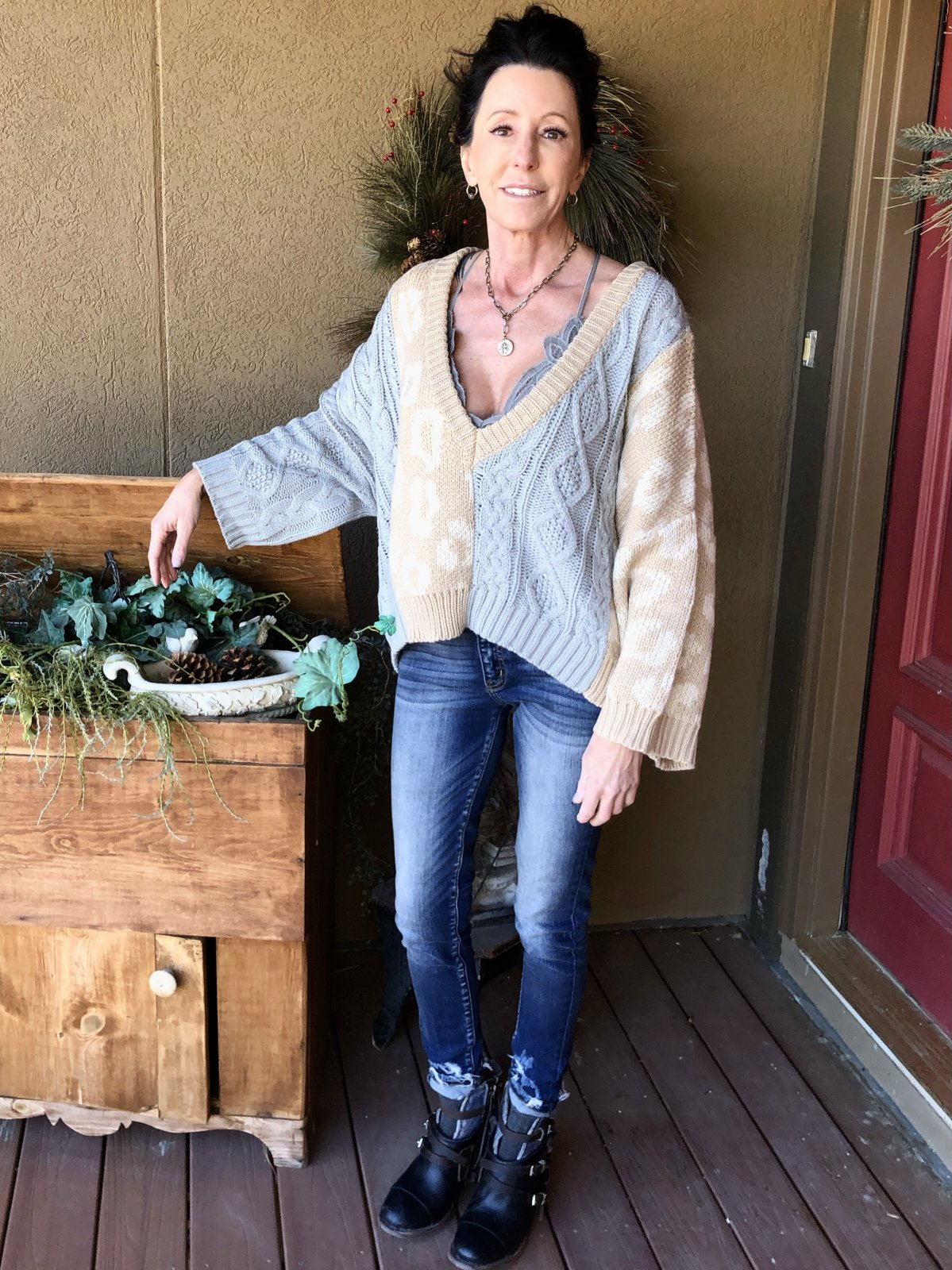 Sweater, Camel/Grey V-neck