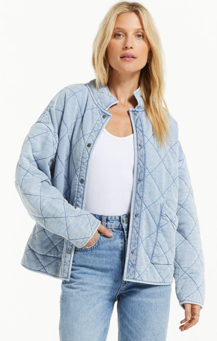 Knit Denim Jacket, Washed Indigo