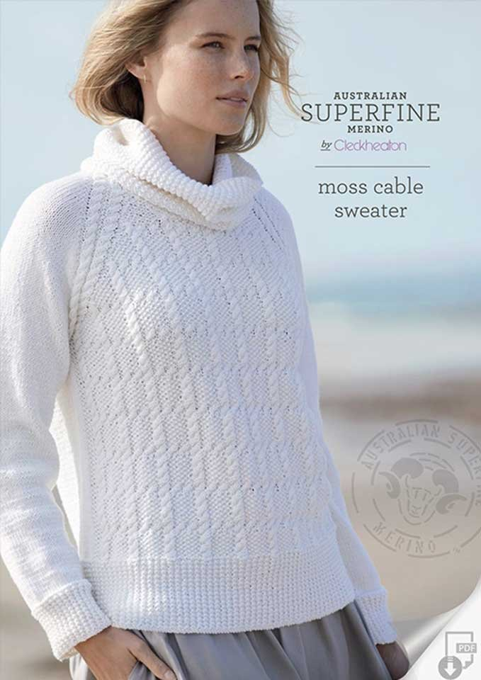 Cleckheaton moss cable sweater