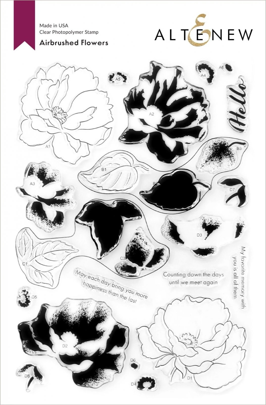 Airbrushed Flowers Stamp Set