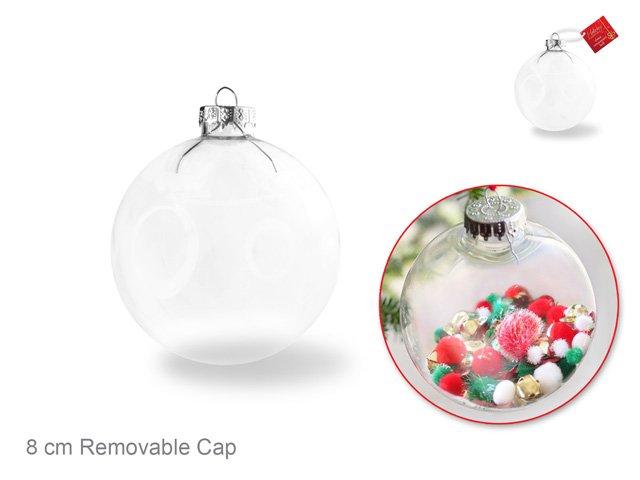 Clear Ornament Glass Ball w/Metal Hanger 8cm