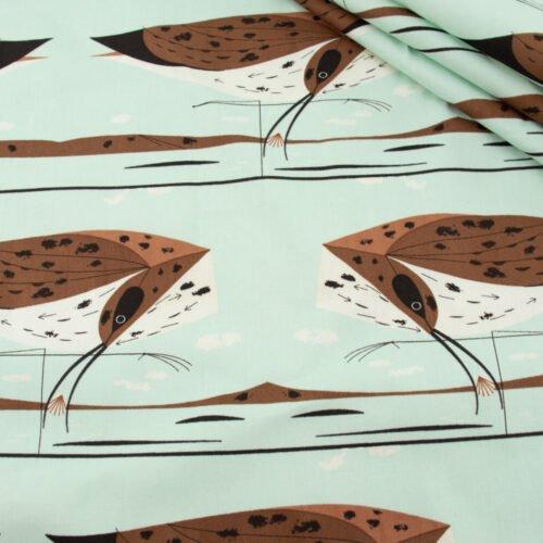 Charley Harper - Coastal / Curlew Poplin