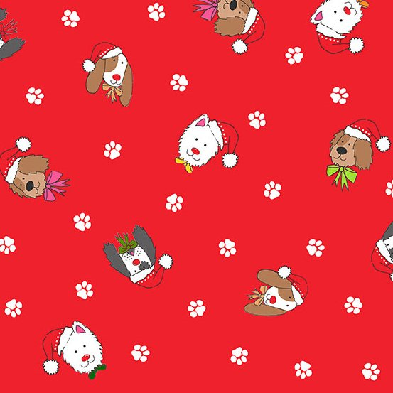 Yappy Christmas - Dog Heads / Red