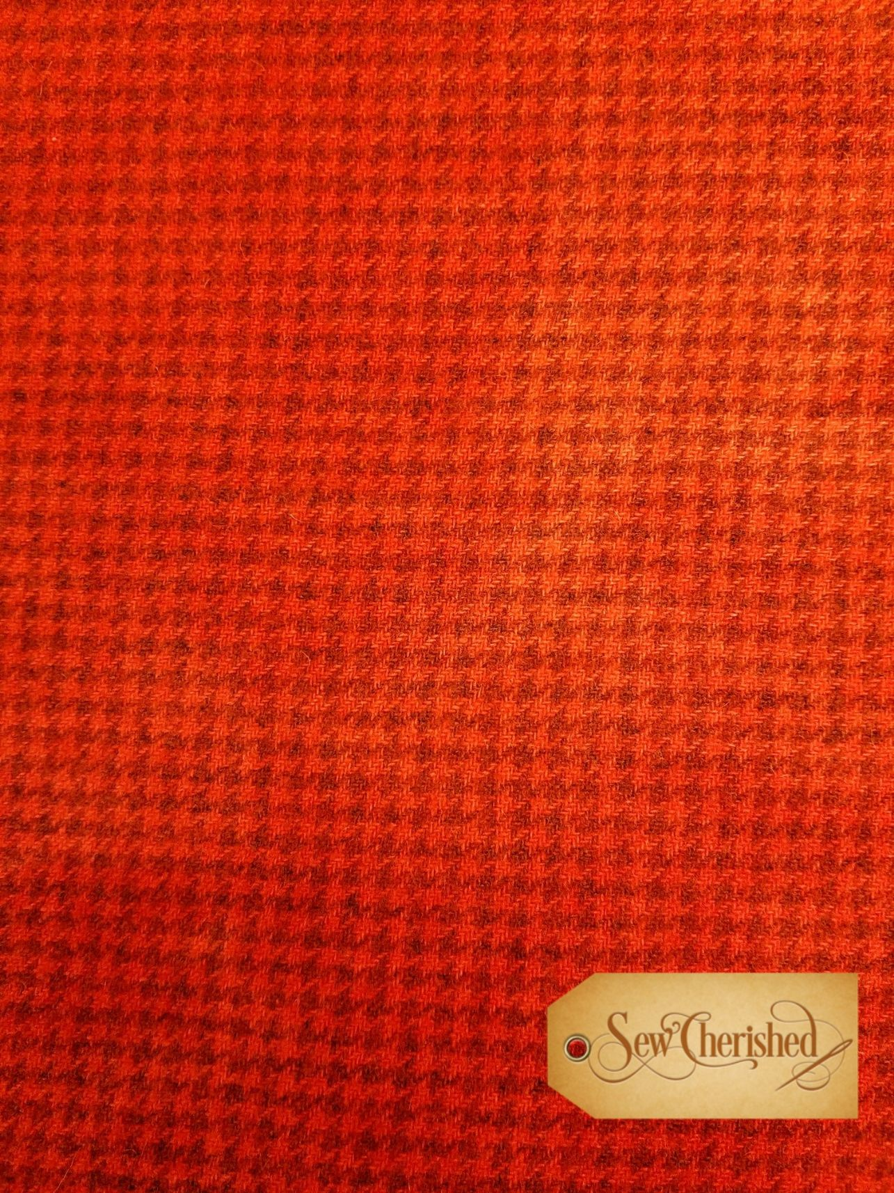 Pumpkin Houndstooth Wool