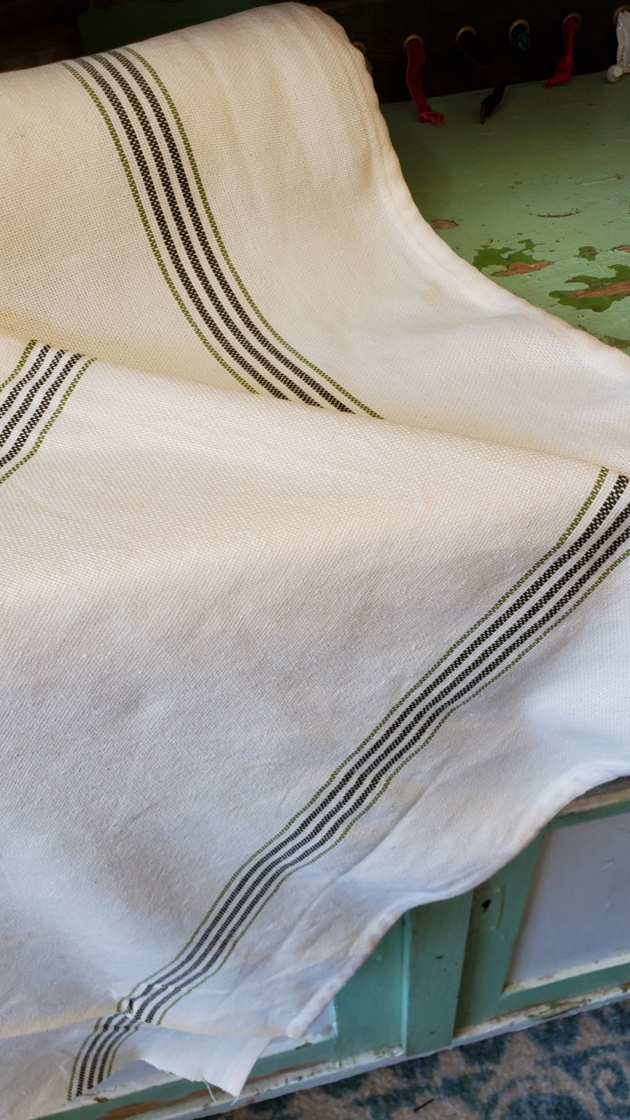 Green Striped Toweling