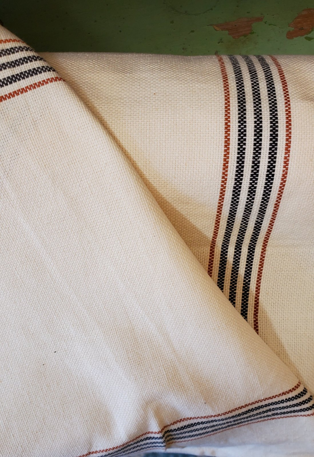 Orange and Black Striped Toweling