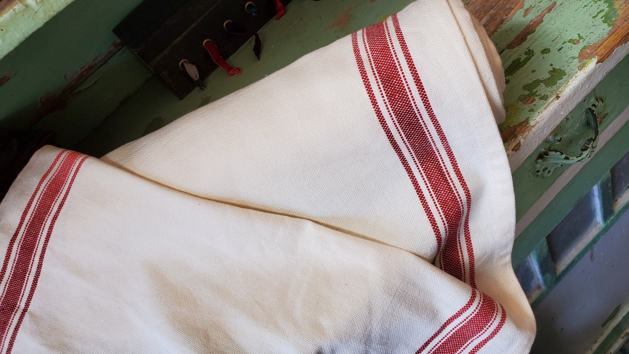 Red striped toweling
