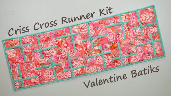 Criss Cross Table Runner Kit: Valentine Batiks