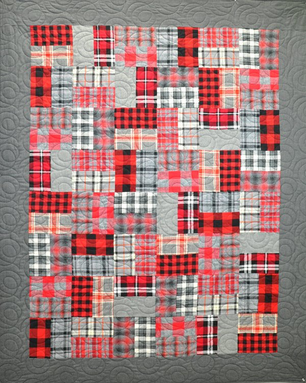 Double Down Flannel Quilt Kit: Red & Black
