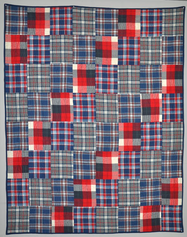Four On The Floor Flannel Quilt Kit: Red & Blue