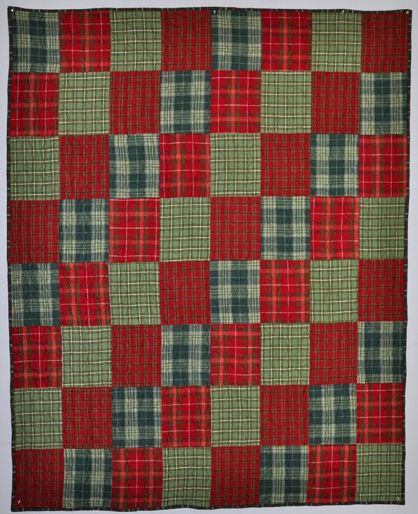 Four On The Floor Flannel Quilt Kit: Red & Green