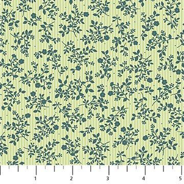 10047-74 - Northcott Charlotte's Garden Vinca Stripe - Green