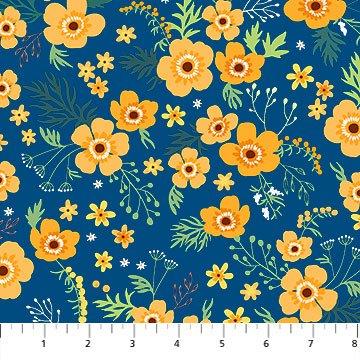 10050-49 - Northcott Charlotte's Garden Miss Charlotte - Blue