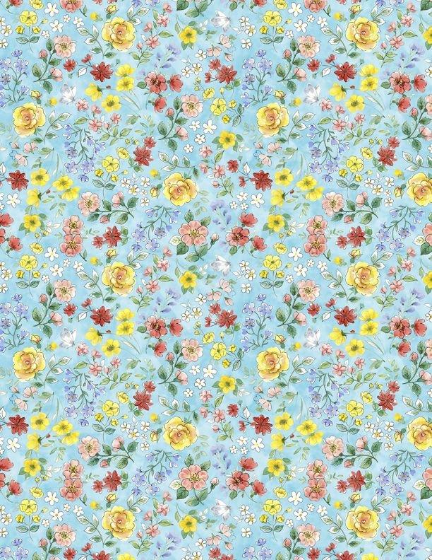 28144-451 - Wilmington New Friends Flower Toss - Blue