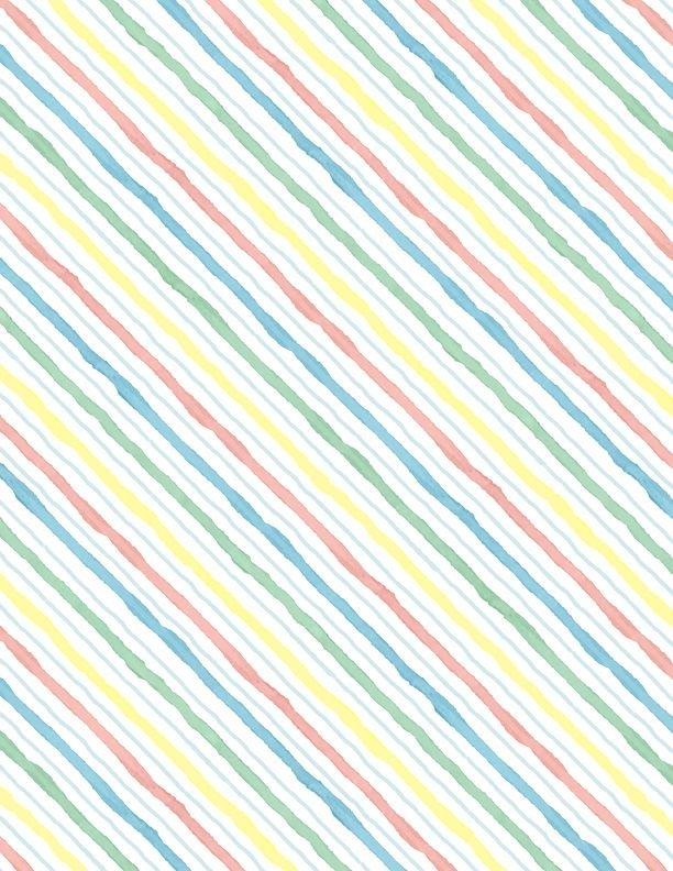 28145-143 - Wilmington New Friends Diagonal Stripes - White