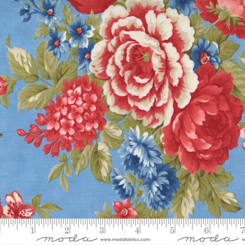 14920 14 - Moda Belle Isle Cabbage Roses - Sky