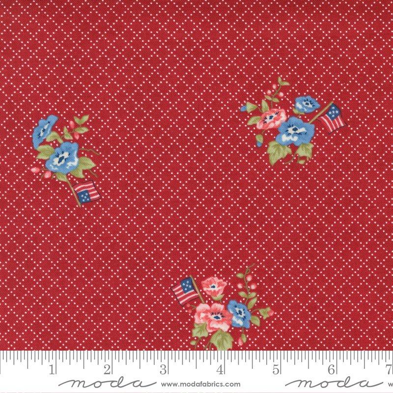 14921 12 - Moda Belle Isle Flags & Flowers - Red
