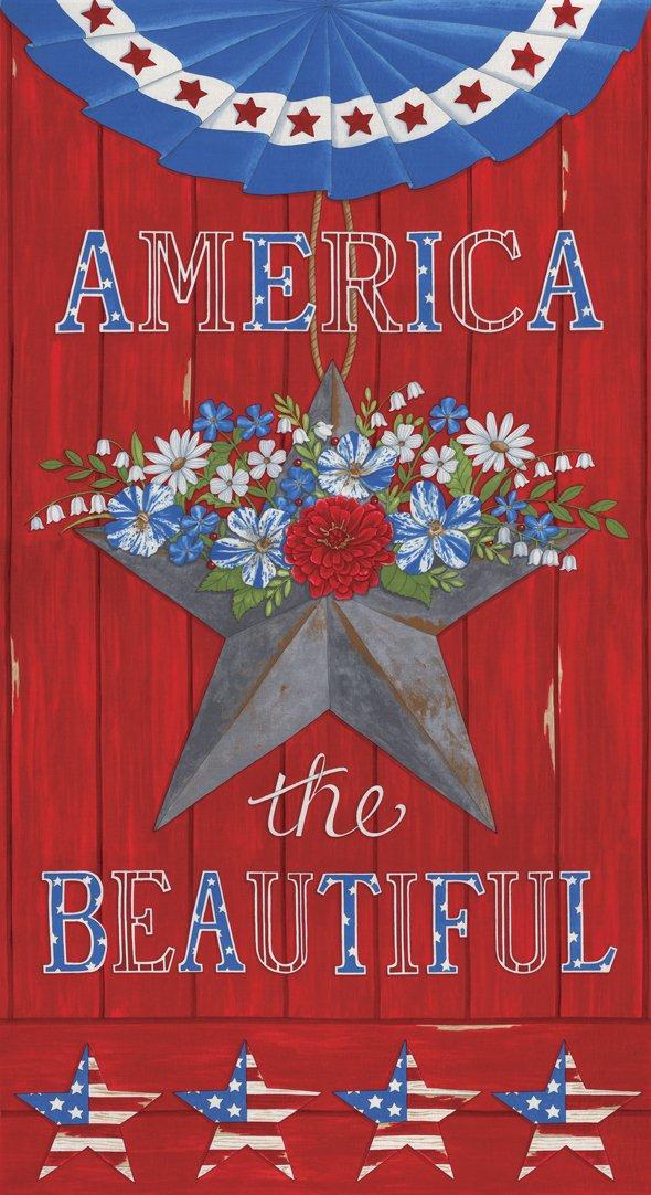 19980 11 Moda America the Beautiful American Panel -  Barnwood Red