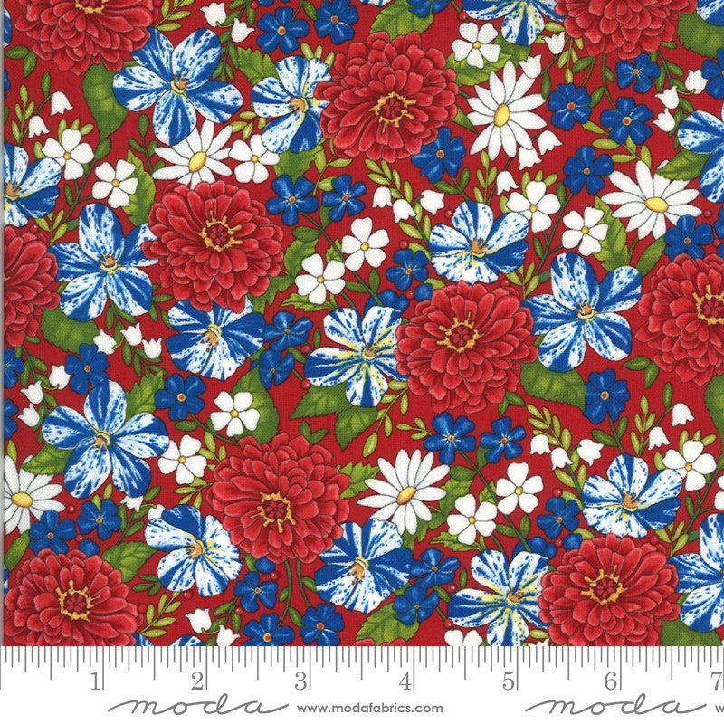 19982 11 Moda America the Beautiful Patriotic Posies - Barnwood Red