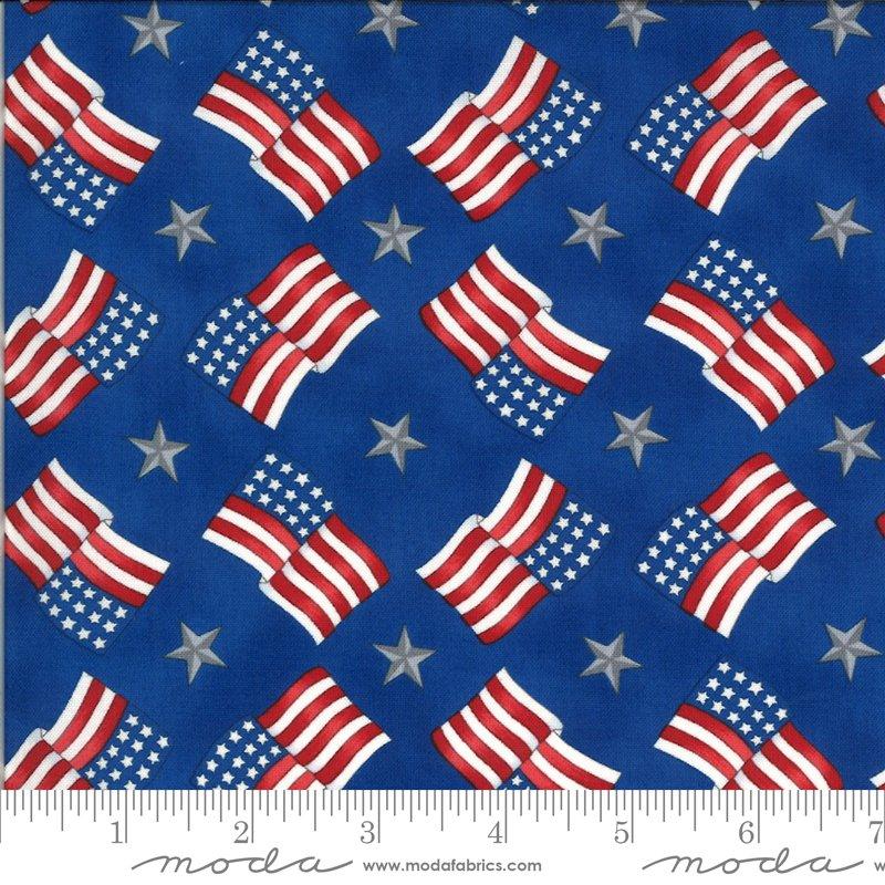 19986 14  Moda America the Beautiful Flags Stars - Lake Blue
