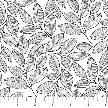 23913-99 - Northcott Simply Neutral II Large Leaf Toss - White/Black