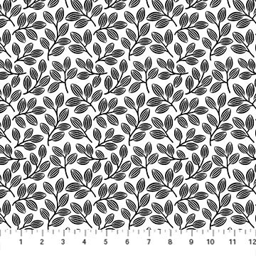 23914-99 - Northcott Simply Neutral II Small Leaf Toss - White/Black