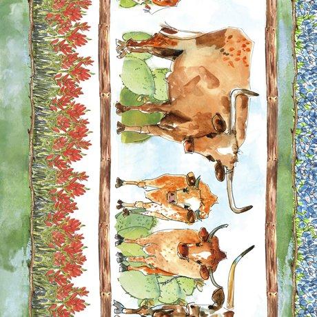 28076-X Quilting Treasures Texas Longhorns Decorative Stripe - Multi