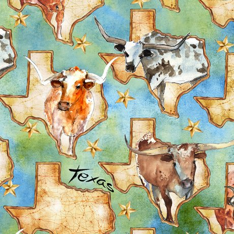 28077-G Quilting Treasures Texas Map & Longhorns - Green/Multi