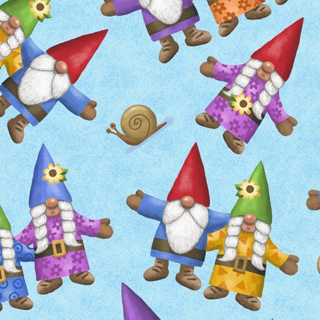 28242-B Quilting Treasures Home Sweet Gnome Tossed Gnomes - Blue