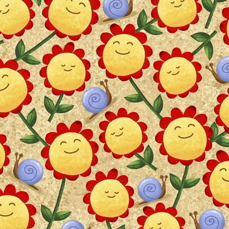 28243-A Quilting Treasures Home Sweet Gnome Sunflowers - Tan