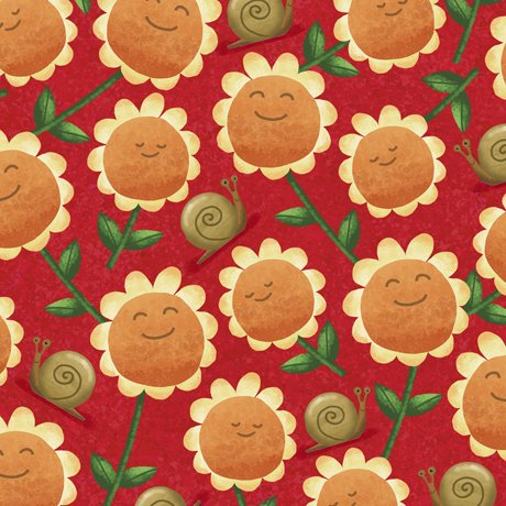 28243-R Quilting Treasures Home Sweet Gnome Sunflowers - Red