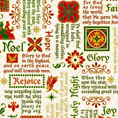 28271-E - Quilting Treasures The Nativity Nativity Words - Cream