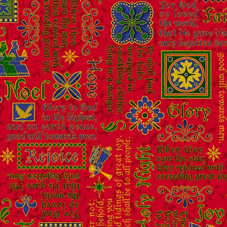 28271-R - Quilting Treasures The Nativity Words - Red