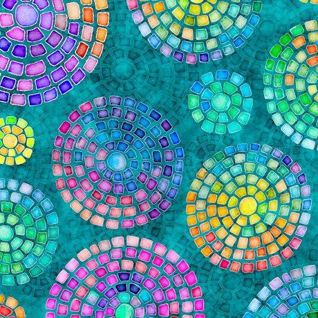 28322-Q - Quilting Treasures Brilliance Mosaic Medallions - Teal
