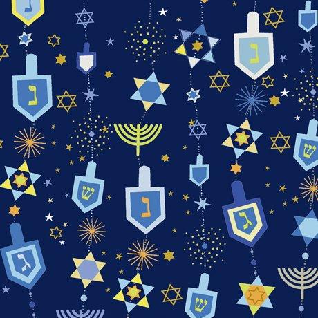 28358-N - Quilting Treasures Hanukkah Greetings Motifs - Navy