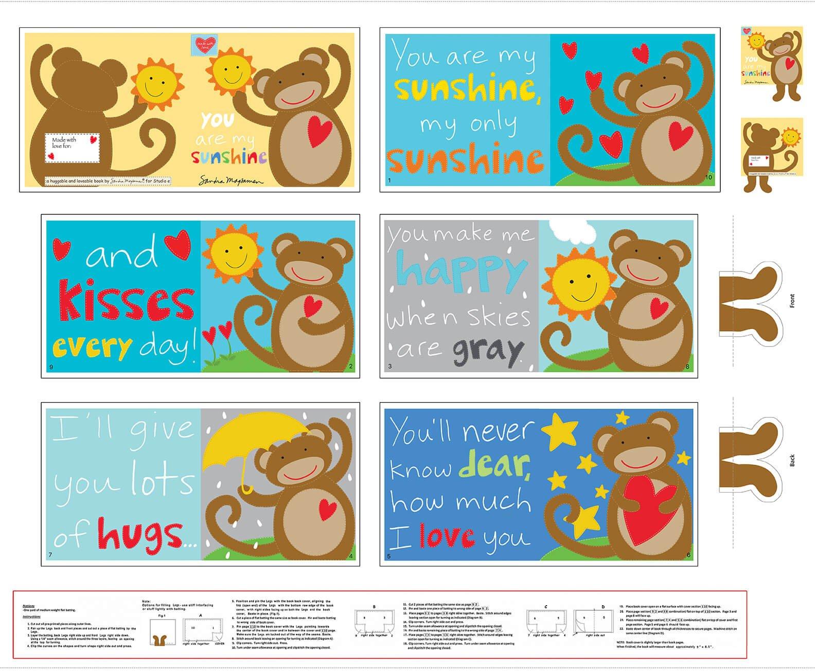 5533P-1 - Studio E Huggable & Loveable IX Book Panel - Monkey