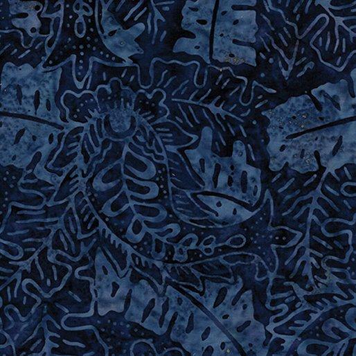 6627-55 - Benartex Batik Tropical Leaf - Navy