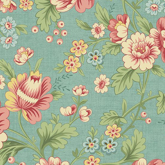 A-9767-T - Andover The Seamstress Dahlia - Turquoise