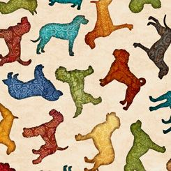 26937-E Quilting Treasures Must Love Dogs Dog Toss - Oatmeal