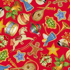 27718-R Quilting Treasures O Tannenbaum Ornaments - Red