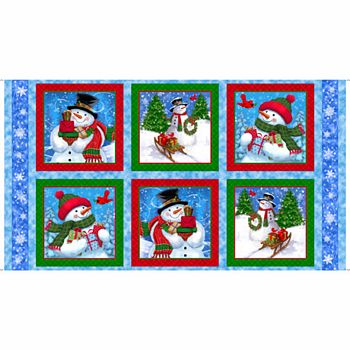 26780-B Quilting Treasures Frosty Friends Snowmen Picture Patches Panel