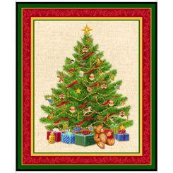 27717-G Quilting Treasures O Tannenbaum Christmas Tree Panel