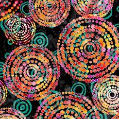 27101-J Quilting Treasures Rhythm Dotted Circles - Black