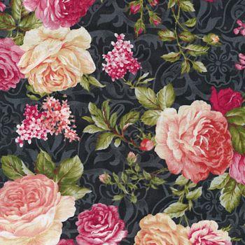 12012701 Fabri-Quilt Natural Beauty Floral - Black